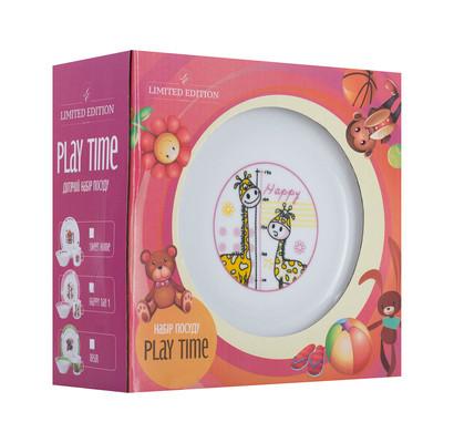 Набір посуду для дітей LIMITED EDITION Happy day 1 3 предмети Фарфор Білий/ Рожевий (D1210)
