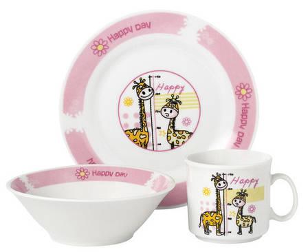 Набір посуду для дітей LIMITED EDITION Happy day 1 3 предмети Фарфор Білий/ Рожевий (D1210), фото 2