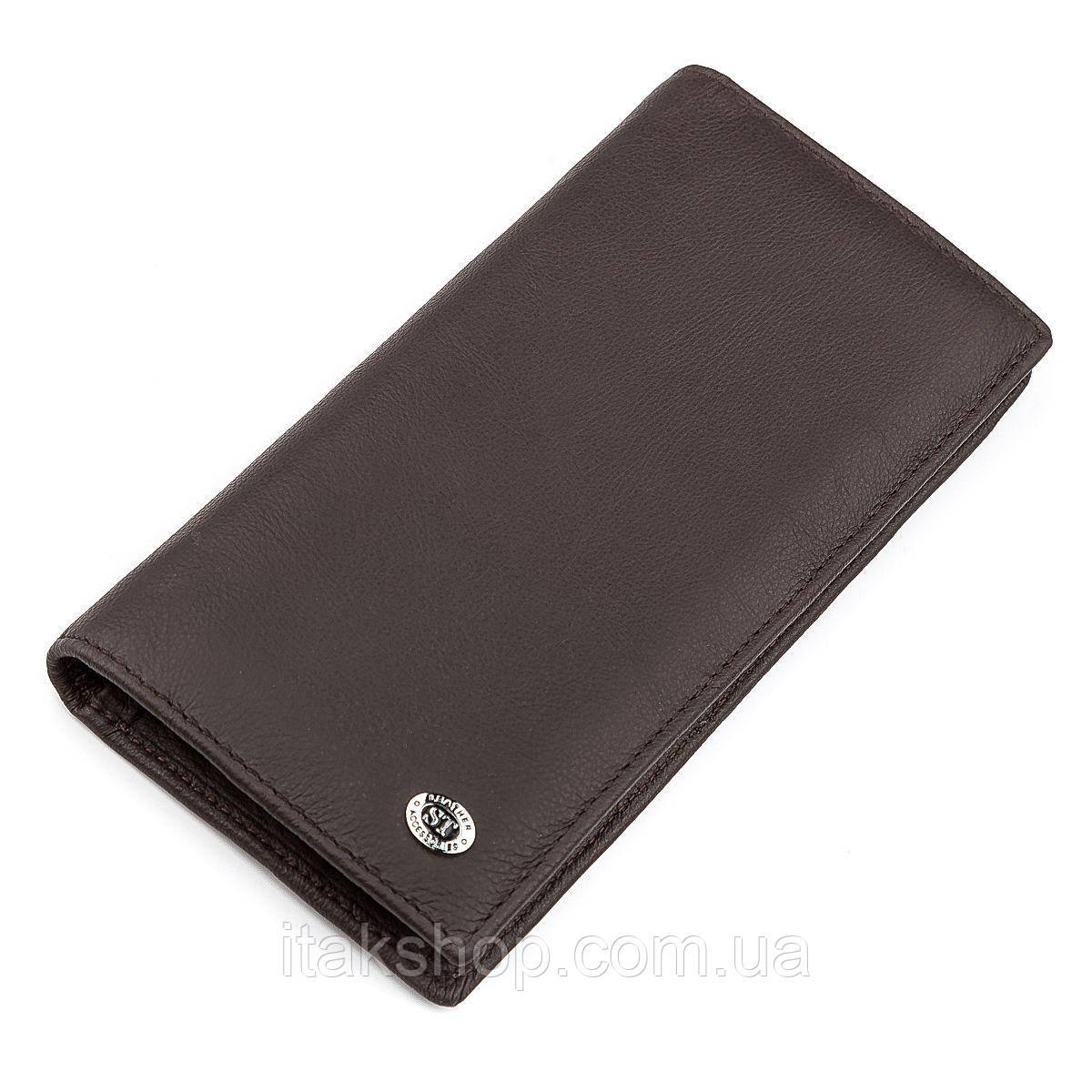 Мужской купюрник ST Leather 18368 (ST148) функциональный Коричневый, Коричневый