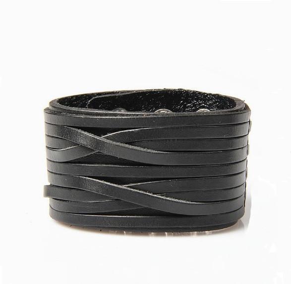 Шкіряний браслет - Широкий (Чорний)