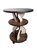 Кофейный столик с полочкой на роликах