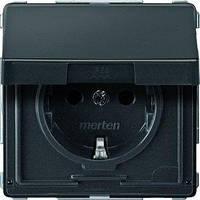 Розетка Merten AD, 2P+E, шторки, крышка, антрацит (MTN2310-7214)