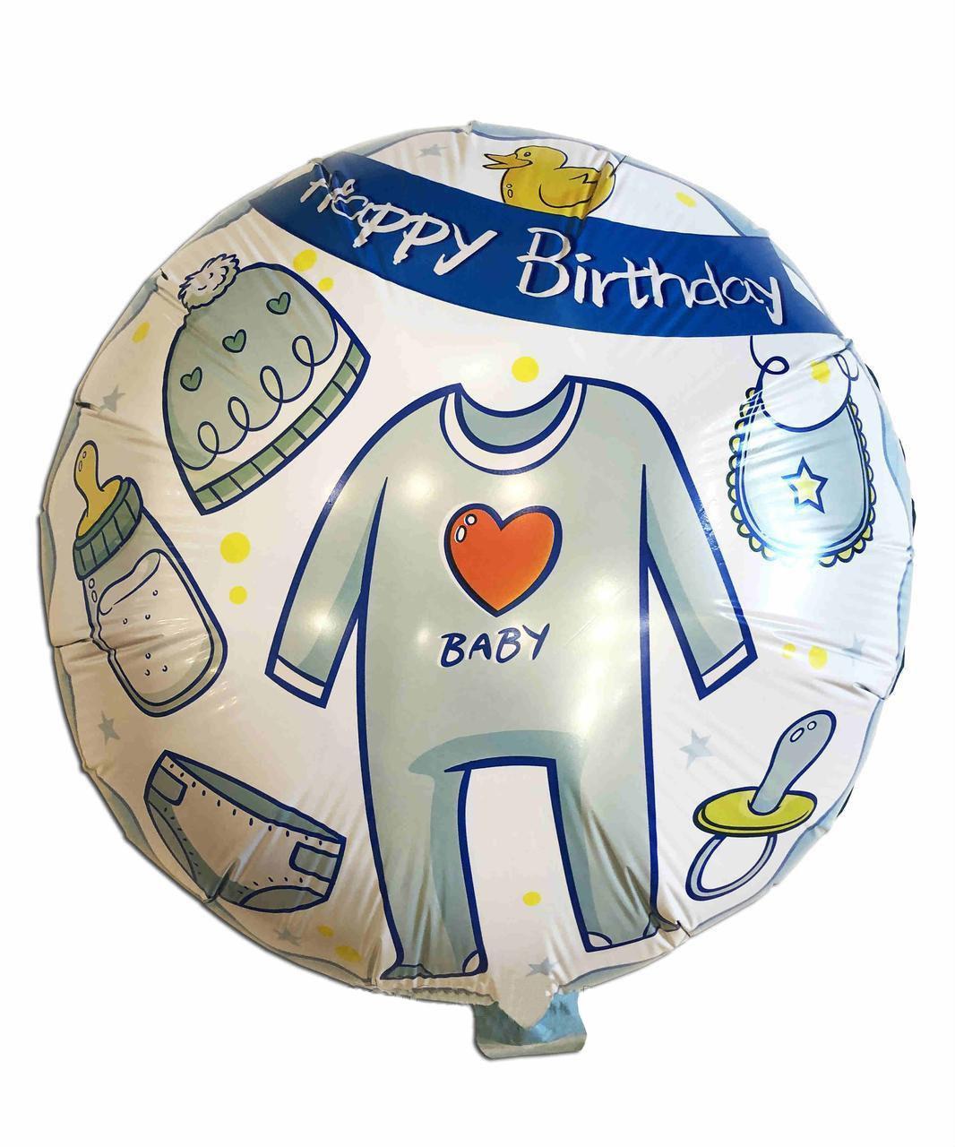 "Фол шар 18"" Круг Happy Birthday Мальчик голубой (Китай)"