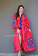 Бохо платье вышиванка лен, этно бохо-стиль, вишите плаття червоне, вишиванка, красное платье в пол