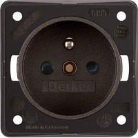 Розетка Berker Integro 2P+E, шторки, CEE 7/5, коричневая (961952501)