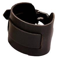 Кожаный браслет - Гладкая кожа (Коричневый с серебристым)