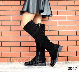 Женские черные сапоги на маленьком каблуке натуральная замша деми
