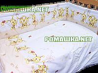 Защита (ограждение, бортики, охранка, бампер) на всю кроватку из двух частей, 360х35 см