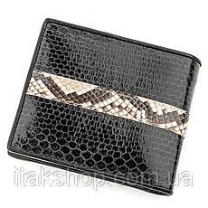 Кошелек SEA SNAKE LEATHER 18553 из натуральной кожи морской змеи со вставками из кожи кобры Черный, Черный, фото 2