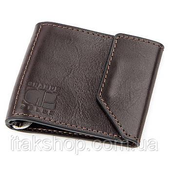 Зажим для денег GRANDE PELLE 11150 Темно-коричневый, Коричневый, фото 2