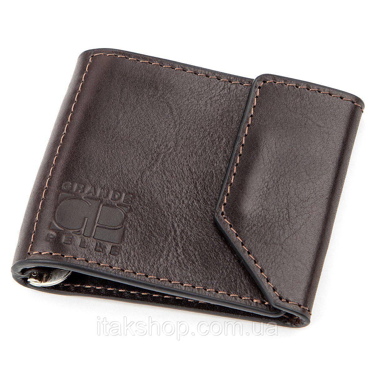 Зажим для денег GRANDE PELLE 11150 Темно-коричневый, Коричневый
