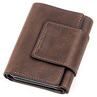 Строгое портмоне унисекс в винтажном стиле GRANDE PELLE 11151 Коричневое, Коричневый