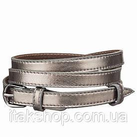 Пояс кожаный MAYBIK 15239 Серый металлик, Серый