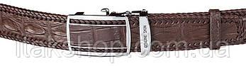 Ремень-автомат мужской CROCODILE LEATHER 18036 из натуральной кожи крокодила Коричневый, Коричневый, фото 2