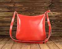 Женская сумка-почтальон кожаная Red красная