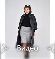 Пальто с рукавами 3/4 №1470-1-черный-полоска, фото 1