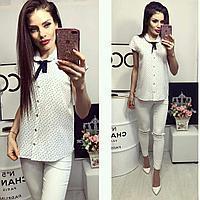 Рубашка короткий рукав (781) белая с принтом