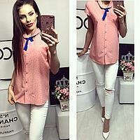 Рубашка короткий рукав (781) персиковая с принтом