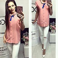 Рубашка короткий рукав (781) персиковая с принтом, фото 1