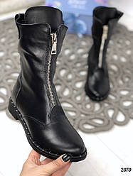 Высокие черные ботинки натуральная кожа на молнии Деми