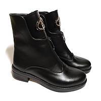 Полусапожки женские зимние кожаные на каблуке. Код: 23 зимние