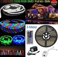 Лента светодиодная RGB 3528 5 метров + контроллер + пульт 44 кнопки+БП, фото 1