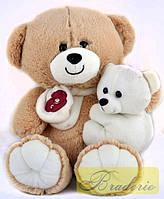 Мягкая игрушка Медведь с ребенком 35 см 30074 (беж)