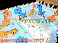"""Защита (ограждение, бортики, охранка, бампер) 360х35 см """"Динозавры"""" на всю кроватку из двух частей, Голубой"""