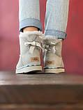 Женские Ugg Mini Bailey Bow (gray), женски угги, серые женски угги низкие (Реплика ААА), фото 4