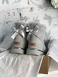 Женские Ugg Mini Bailey Bow (gray), женски угги, серые женски угги низкие (Реплика ААА), фото 6