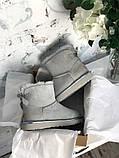 Женские Ugg Mini Bailey Bow (gray), женски угги, серые женски угги низкие (Реплика ААА), фото 8