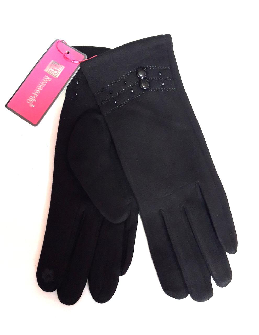 Сенсорные женские перчатки, трикотаж/флис , черные (6,5-8,5)