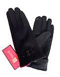 Сенсорные женские перчатки, трикотаж/флис , черные (6,5-8,5), фото 2