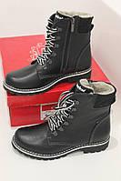 Женские кожаные  зимние модные  ботинки в стиле Тимберленд ,черные