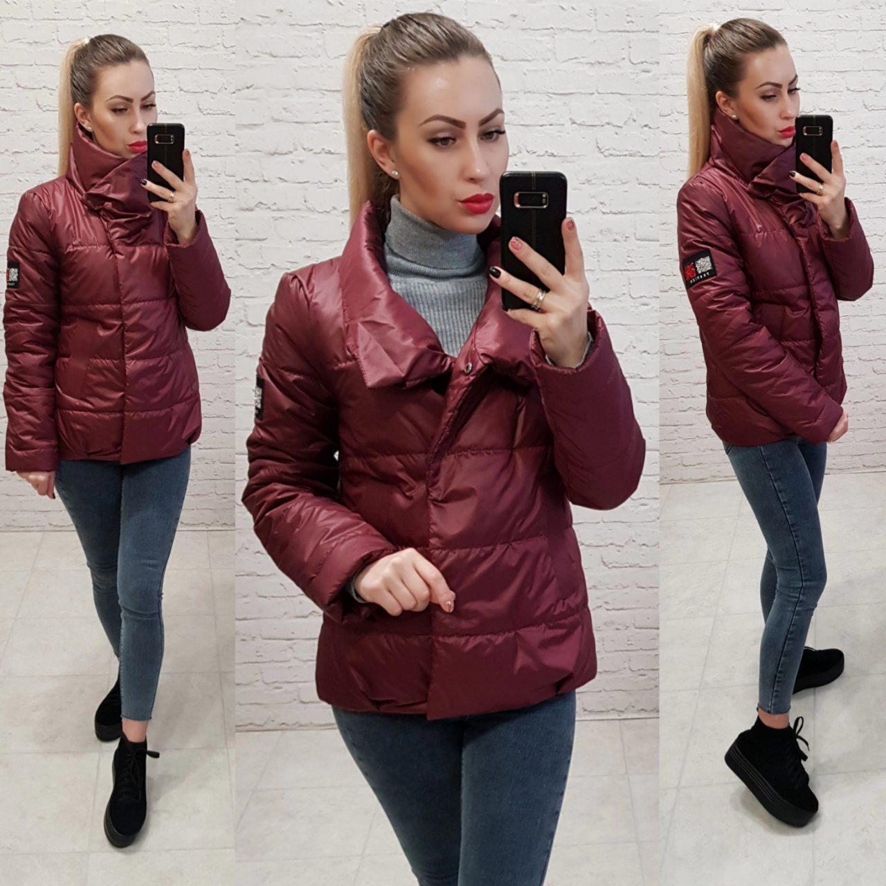 Куртка кокон коротка вільного крою арт. 1004 бордовий / вишневий