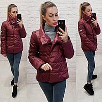Куртка кокон коротка вільного крою арт. 1004 бордовий / вишневий, фото 1