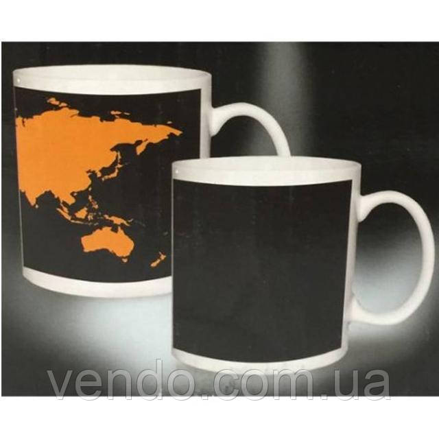 Кружка-чашка хамелеон с терморисунком Карта мира