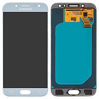 Дисплейный модуль (дисплей и сенсор) для Samsung J530 Galaxy J5 (2017), серебристый, голубой, оригинал, сервисная упаковка, #GH97-20738B