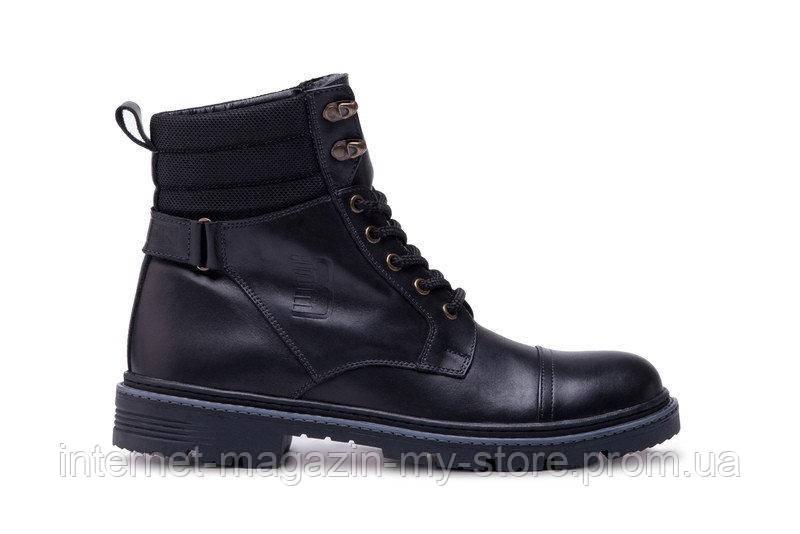 Мужские кожаные зимние ботинки Bastion  black