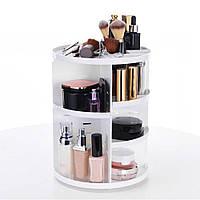 Органайзер для косметики 360 градусов. Регулируемая коробка для хранения, стойка для косметики (БЕЛЫЙ ЦВЕТ), фото 1