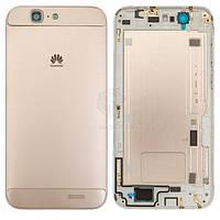 Задняя панель корпуса (крышка аккумулятора) для Huawei Ascend G7 G760-L01 Original Gold С боковыми кнопками, без лотка SIM-карты