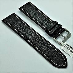 24 мм Шкіряний Ремінець для годинника CONDOR 307L.24.01 Чорний Ремінець на годинник з Натуральної шкіри