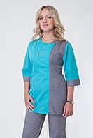 Женский медицинский костюм 3225 большого размера в серо-бирюзовом цвете