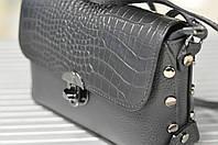 Женская кожаная черная сумочка кросс-боди, фото 1