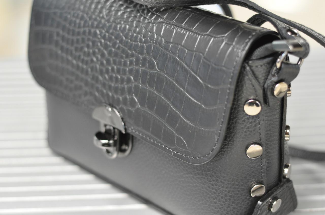 Женская кожаная черная сумочка кросс-боди