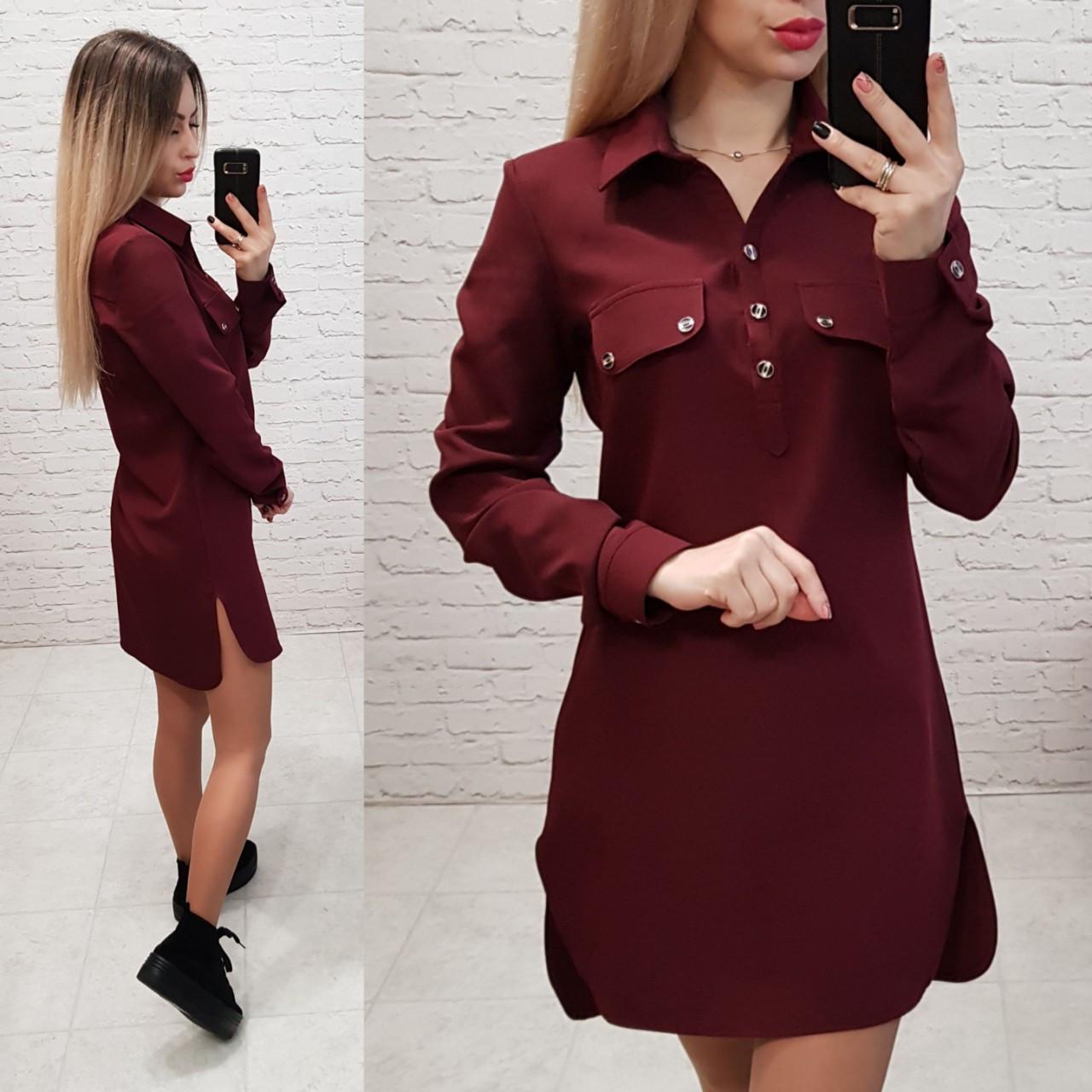 Платье - рубашка арт. 825 бордо / марсала / вишня