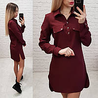 Платье - рубашка арт. 825 бордо / марсала / вишня, фото 1