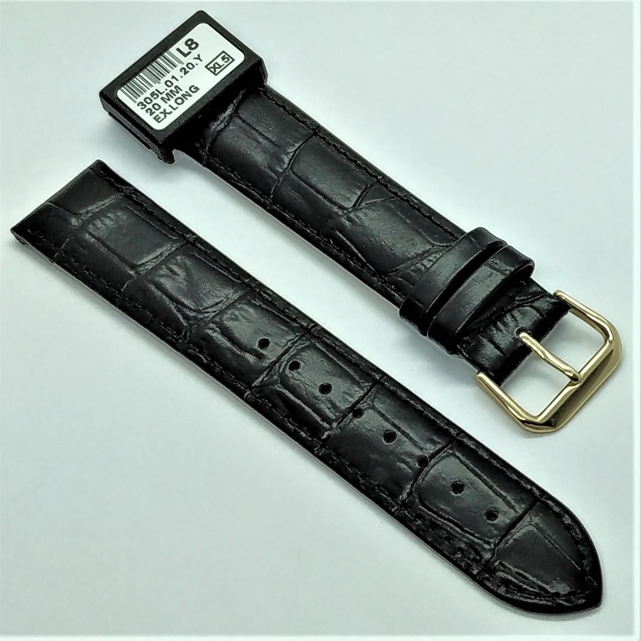 20 мм Кожаный Ремешок для часов CONDOR 305L.20.01 Черный Ремешок на часы из Натуральной кожи удлиненный