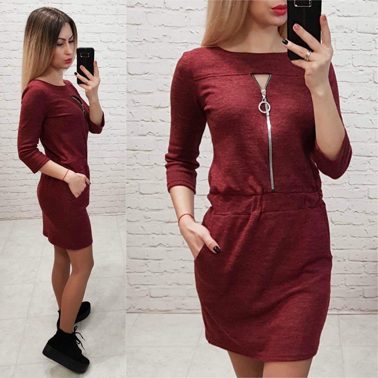 Платье арт. 151 вишневый / бордовый меланж