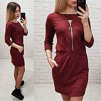 Платье арт. 151 вишневый / бордовый меланж, фото 1